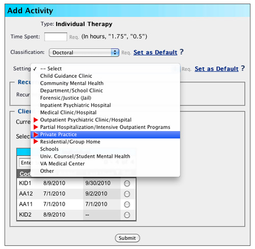 Add Activity - New Treatment Settings